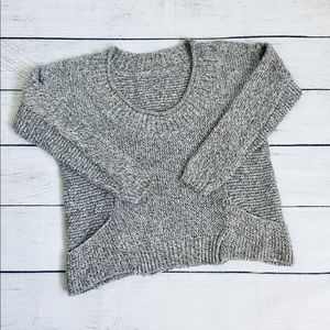 Gray/beige salt&pepper texture crop sweater xs